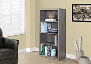"""Monarch Specialties Bookcase - Sturdy Etagere with 3 Adjustable Book Shelves - 48""""H (Dark Taupe)"""