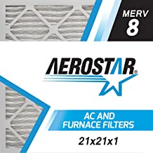 Aerostar 21x21x1 MERV 8, Pleated Air Filter, 21x21x1, Box of 6, Made in The USA