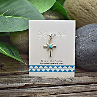 Genuine Sleeping Beauty Turquoise Cross Pendant in 925 Sterling Silver, Authentic Navajo Native American, Handmade in the USA, With or Without Sterling Chain, Nickle Free Baptism and Religious Gift