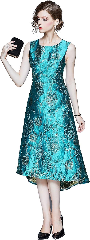 Women's Floral Vintage Sleeveless Dress Elegant Midi Evening Dress 50s Cocktail