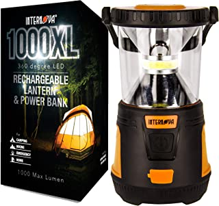 Internova Rechargeable Camping Lantern Power Bank - Massive Brightness Adjustable 360 LED Arc Lighting - Emergency - Backpacking - Construction - Hiking - Auto - Home