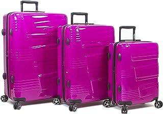 Dejuno Lumos Hardside 3-Piece Expandable Spinner Luggage Set, Cranberry