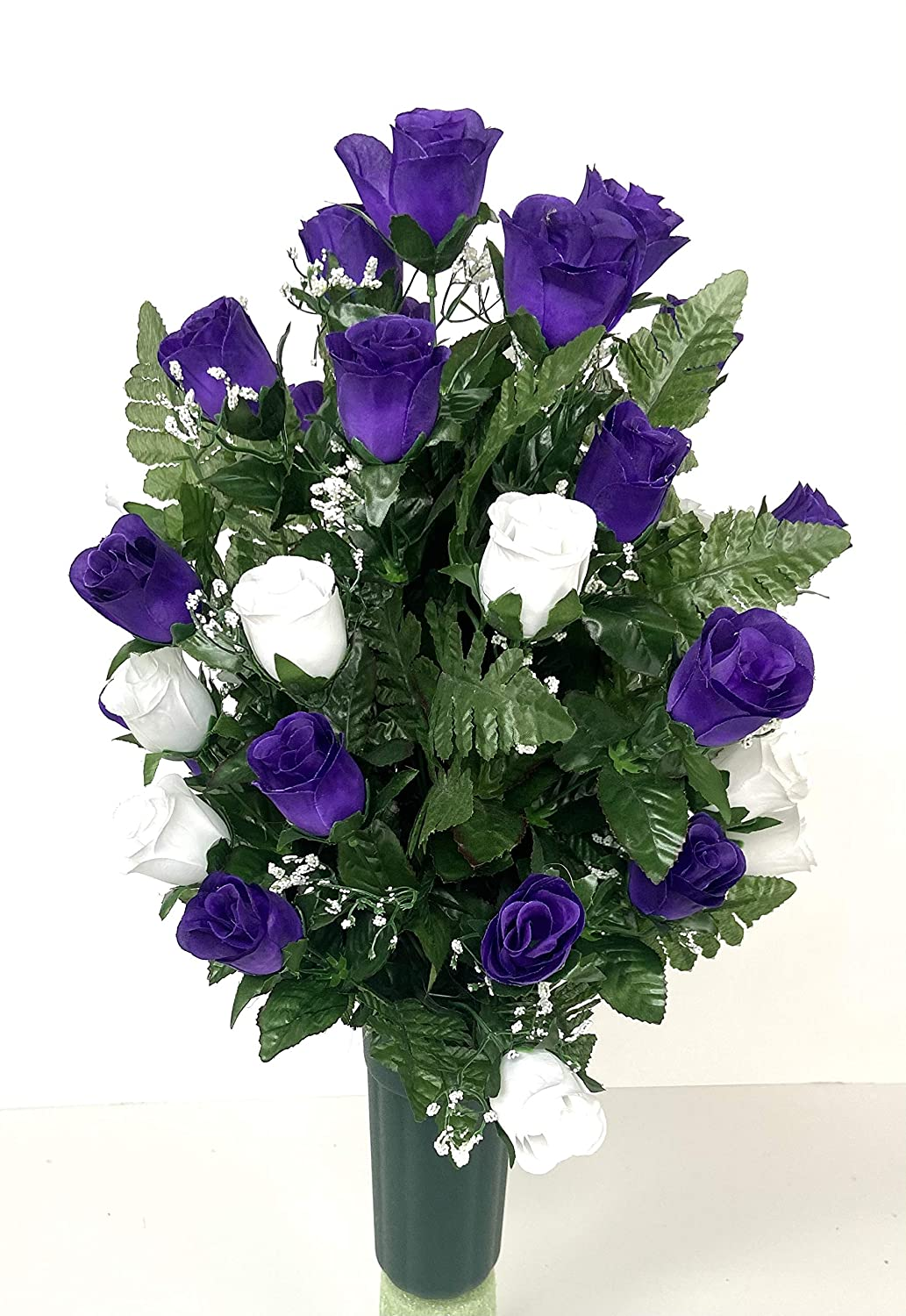 Purple and White Rose Cemetery Sale SALE% OFF Regular dealer With Green Filler Vase Cone