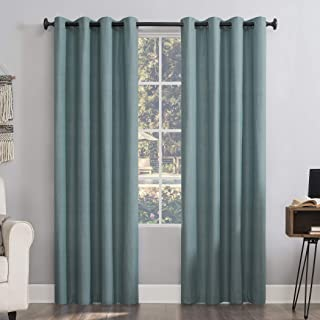 "Sun Zero Columbia 2-pack Thermal Energy Saving 100% Blackout Grommet Curtain Panel Pair, 50"" x 95"", Misty Blue"