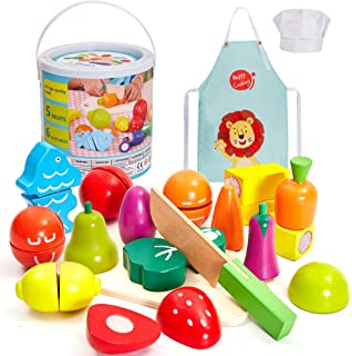 comprar comparacion HERSITY Juguetes de Corte de Madera Frutas y Verduras Juego de Alimentos con Delantal y Gorro de Cocinero para Niños Niñas