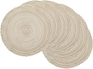 U'Artlines Indoor & Outdoor Round Cotton Placemat, Perfect for Fall, Dinner Parties, BBQs, Christmas Parties and Everyday Use,6pcs placemats, Ivory White