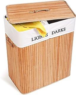 Tatkraft Carolina stor bambu tvättkorg med 2 fack och ventilationssystem, för ljus och mörk tvätt, tillverkad av 100% natu...