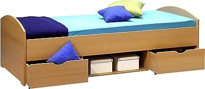 NEMO Modernes Einzelbett mit 2x Schubkästen 90 x 200 cm - Praktisches Jugendzimmer Kojenbett in Buche Optik - 96 x 66 x 204 cm (B/H/T)