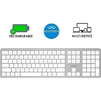 Macally Bluetooth Wireless Keyboard for Mac, iMac, Apple Mac Pro, Mac Mini, MacBook Pro/Air Laptop - Rechargeable Slim Full-Size Mac Wireless Keyboard (BTWKEYMB)