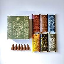 Jembrana Incense Cones- Mix 6 Scents (60 Cones Total), 10 Cones Each of Sandalwood, Amber, Maha Triloka, Gardenia, Padma &...