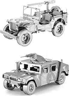 Fascinations ICONX 3D Metal Model Kits Set of 2 - Willy's MB Jeep - Humvee