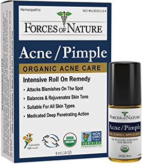 Forces of Nature - Natural, Organic Acne Skin Care Treatment (4ml) Non GMO, No Harmful Chemicals, Cruelty Free - Fight Acn...
