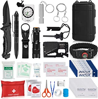 Sponsored Ad - Napasa Emergency Survival Kit 54 in 1 Outdoor Survival Gear Tool and First Aid Kit, Survival Bracelet, Emer...