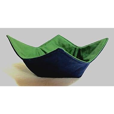 Microwave Bowl Cozy DarkGreen Navy Reversible Handmade Washable Cotton