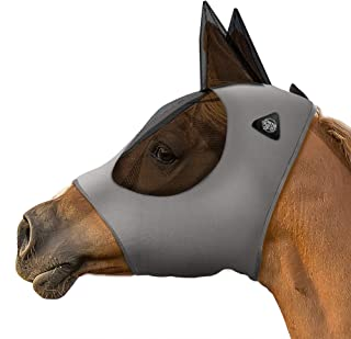 SmithBuilt Horse Fly Mask with Ears (Gray, Cob) - Breathable Mesh and UV Protection