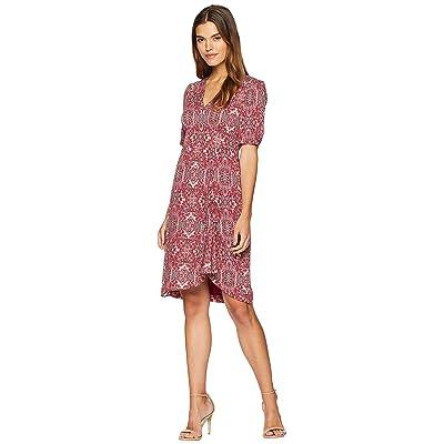 Nanette Lepore Sensuous Print Ruched Dress (Ruby) Women