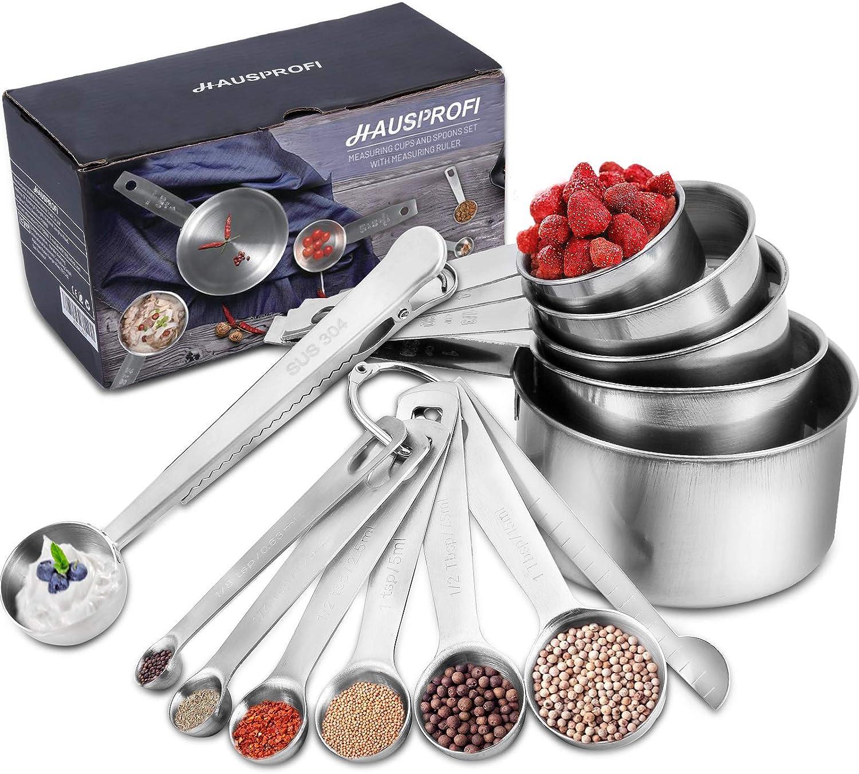 HAUSPROFI - 5 vasos medidores, 6 cucharas medidoras de precisión estrecha y 1 regla de medición (máquina indicadora) y 1 scop con clip,acero inoxidable