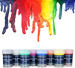 individuall Premium Fabric & Textile Paints Professional Grade Clothing Paint Set – Art and Hobby Paints – Craft Paint Set with 8 x 0.7 fl oz - Vivid Colors – for Beginners, Students, Artists