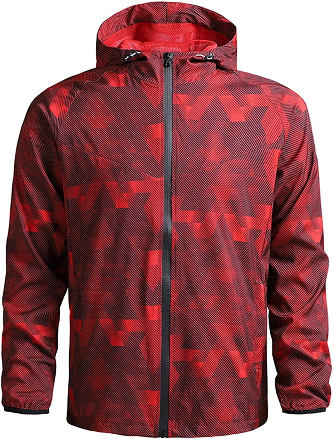 Huangse Mens Autumn Winter Jacket Casual Printed Slim Fit Thin Lightweight Outerwear Sportswear Bomber Jacket Coat