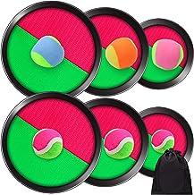 Elcoho - Juego de juego deportivo con 3 palas y pelotas de tiro ajustables y 3 tamaños con bolsa de almacenamiento para actividades al aire libre, 6 palas y 6 bolas