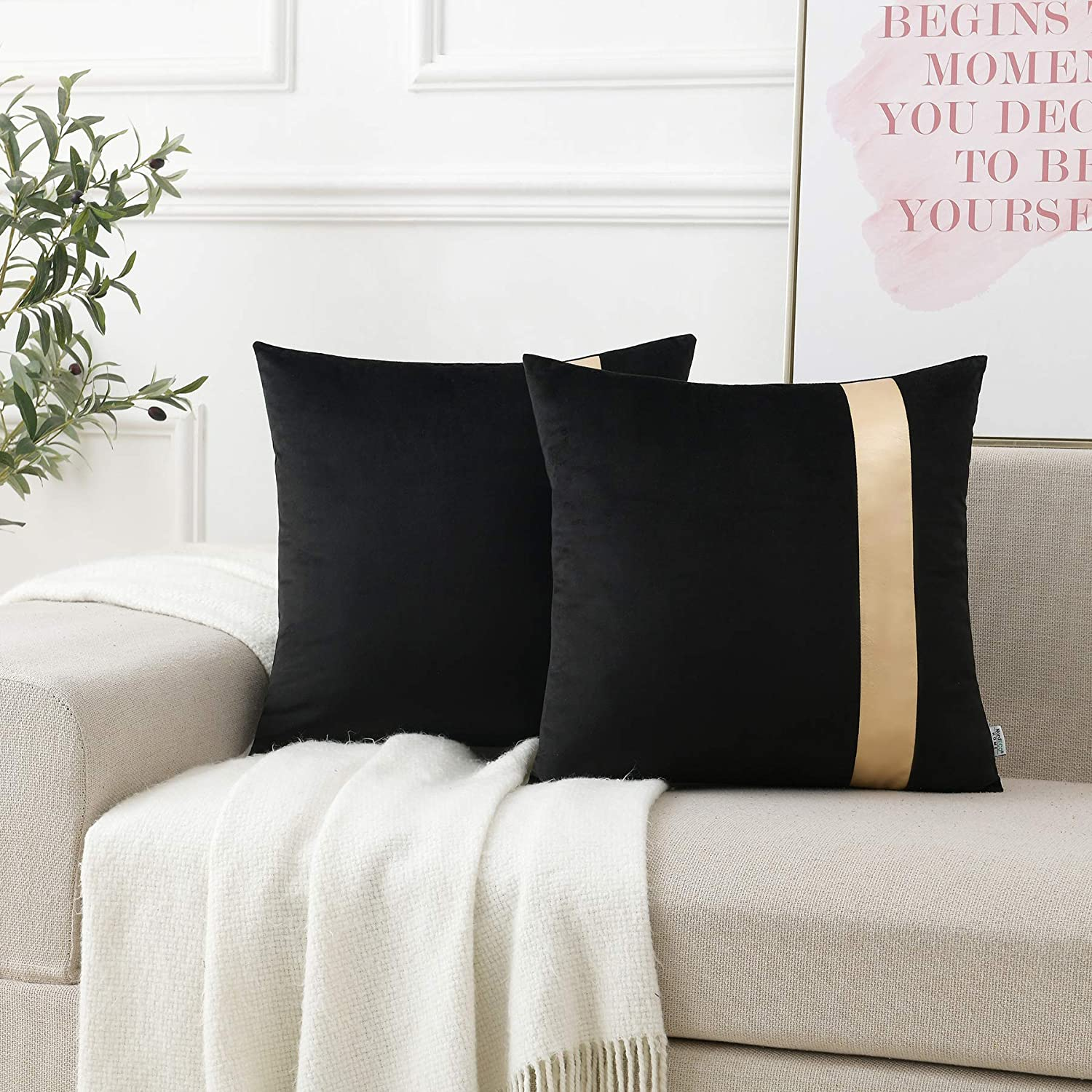 New Free Shipping NordECO HOME PU Leather security Velvet Pi Pillow Throw Covers Decorative