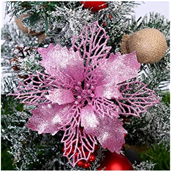 Amazon Com Gl Turelifes Pack Of 12 Glitter Artificial Poinsettia Flowers Christmas Wreath Christmas Tree Flowers Ornaments 6 16cm Diameter With 12 Pcs Green Soft Stings Pink Furniture Decor