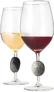 Touchstone Wine Glasses - Unique, Elegant & Modern Stone Stemmed Wine Glasses - Set of 2