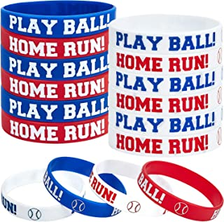 Baseball Silicone Rubber Bracelets Boy Rubber Wristbands Baseball Bracelet Wristbands for School Gifts Party Favors (24)