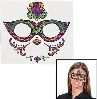 Mardi Gras Full Face Tattoo (12 Pack) Eye Mask Temporary Tattoos