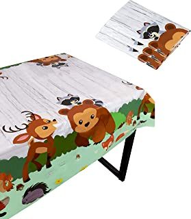 Blue Panda Woodland Animals Party Tablecloth - 3-Pack Disposable Plastic Rectangular Table Covers - Animals Themed Party Supplies Kids Birthday, Baby Shower Decorations, 54 x 108 inches