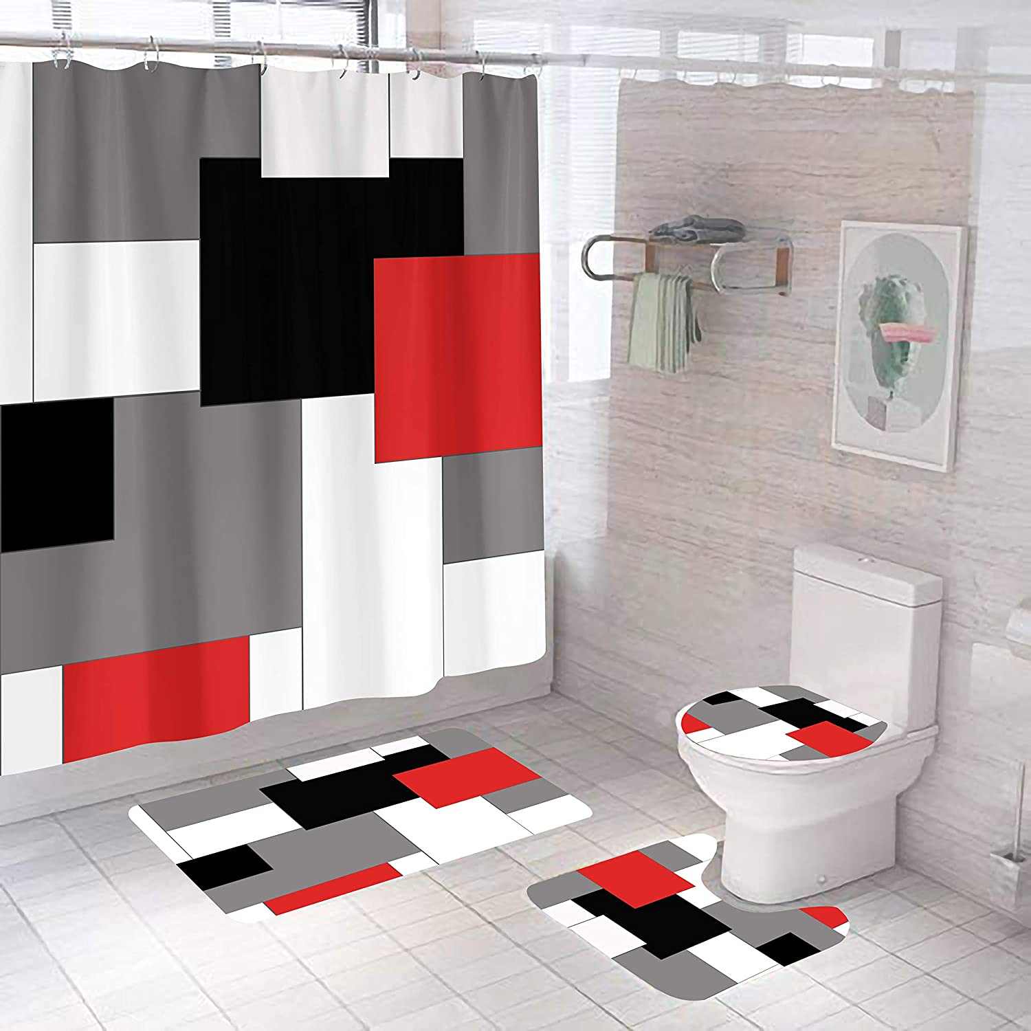 4 Pcs Abstract Geometric Some reservation Shower Some reservation Rugs Sets Curtain with Non-Slip