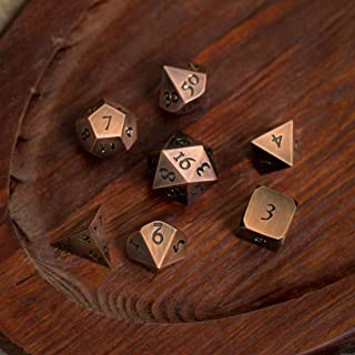KakapopoTCG Table Breakers Copper Bronze - Extra Large Solid Metal Polyhedral Dice Set with Dice Box and Dice Tray for DND Dungeons and Dragons Pathfinder Call of Cthulhu Extra Heavy Poly Dice