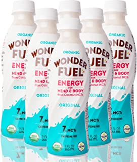 Wonder Fuel Original - Organic Clean Energy Drink for Mind and Body with Coconut MCT Oil | No Artificial Sweeteners or Added Sugars | Non-GMO | Vegan | Natural and Gluten Free - 9oz 6-Pack