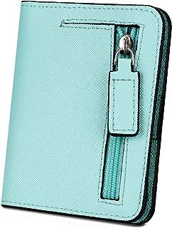 [ヤラックス]YALUXE レディース RFID ブロッキング 小さい コンパクト レザー ウォレット ミニ 財布 ID ウィンドウ クロス アイランドグリーン