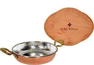 Alba Rosas 7.08 inch Thick 2mm Weight 0.92 pounds Hammered Copper Pan – Turkish Greek Arabic Heat Resistant Egg Omelette F...