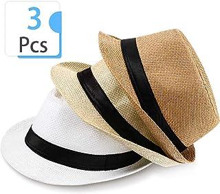 3 Pieces Panama Hat Short Brim Straw Hat Unisex Summer Hat Roll Up Cap Beach Sun Hat for Men Women
