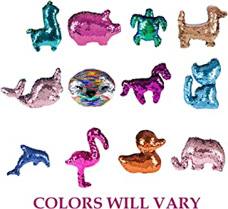 Reversible Flip Sequin Plush Toys that Change Color - 12 Pack | Birthday Party Favors for Girls & Boys, Assorted Animals | Include Dolphin, Elephant, Alpaca, Duck, Horse, Cat, Flamingo, Dog and More