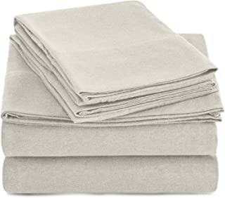 AmazonBasics Heather Cotton Jersey Bed Sheet Set - King, Oatmeal