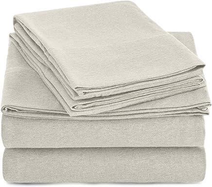 AmazonBasics Heather Jersey sheet set, Twin XL, Sky Blue