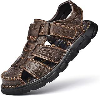 Sandalias de Senderismo Hombre Piel Sandalias Ajustables de Cuero al Aire Libre con Punta Cerrada Zapatos de Playa de Pesc...