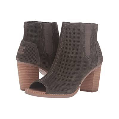 TOMS Majorca Peep Toe Bootie (Tarmac Olive Suede Perforated) Women