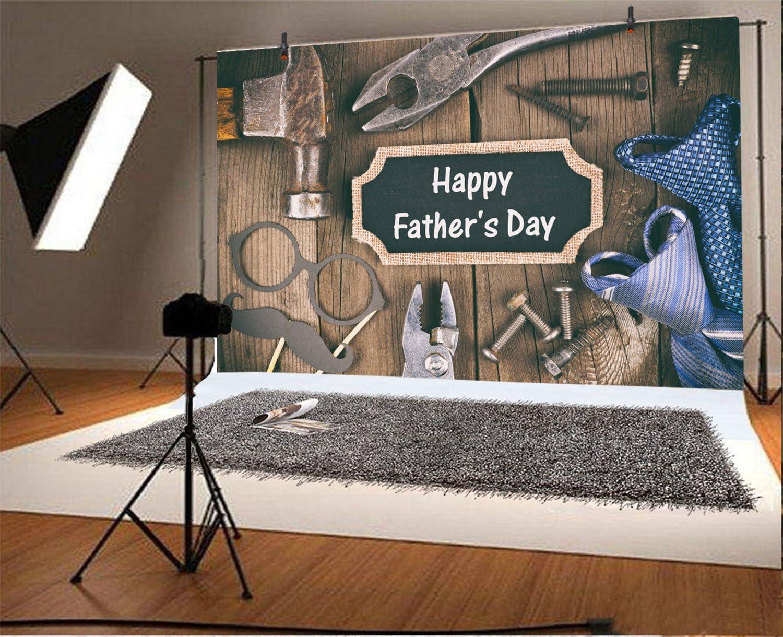 Leyiyi 7x5ft Happy Fathers Day Backdrop Fixing Tools on Wooden Board Gentleman Ties Vintage Blank Board Housing Hardwares Western Rustic Photo Background Thanks Dad Portrait Shoot Studio Vinyl Prop