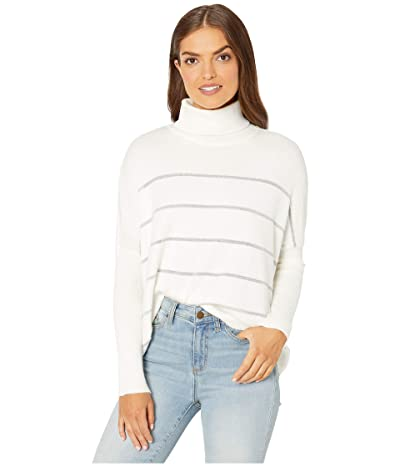 Cupcakes and Cashmere Sydney Metallic Striped Turtleneck Dolman Sweater (Ivory) Women