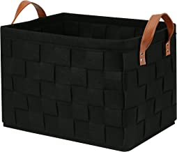Collapsible Storage Basket Bins, Foldable Handmade Rectangular Felt Fabric Storage Box Cubes Containers with Handles- Larg...