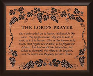 P. GRAHAM DUNN The Lord's Prayer Grape Vine 28 x 35.5 Wood Twotone Carved Wall Mounted Plaque
