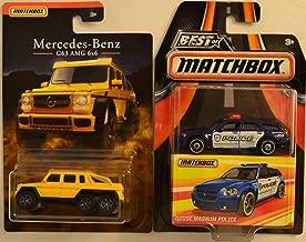 Matchbox 2 Car Bundle G63 AMG 6x6 Mercedes-Benz Series & Dodge Magnum Police Best of Matchbox Series 1:64 Scale Collectible Die Cast Model Car