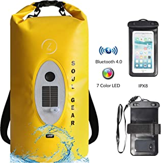 Waterproof Dry Bag Backpack - Roll Top Dry Sack + IPX8 Phone Case & USB Solar Bluetooth Speaker by SOUL GEAR. Provides Music & Keeps Camping Gear Dry for Kayaking, Beach, Boating, Hiking, Camping