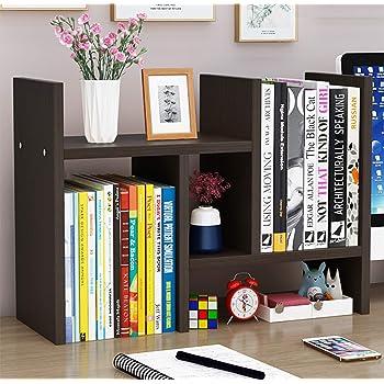Office Desktop Bookshelf Adjustable Wood Display Shelf Desktop Organizer Office Storage Rack Countertop Bookcase Office Supplies Desk Organizer Accessories (Espresso)
