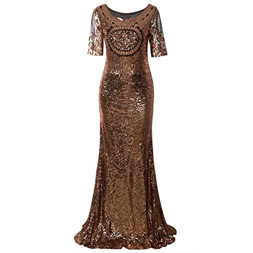 1a63c7f8f40 Vijiv 1920s Long Wedding Prom Dresses 2 3 Sleeves Sequin Beaded Party Formal  Evening Gowns