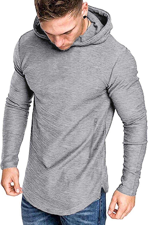 JINIDU Sudadera con capucha para hombre, corte muscular, mezcla de algodón, para gimnasio, color liso, gris claro, talla L